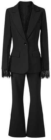 Lace-Trimmed Blazer and Pant Suit | DESIGNER INSPIRED FASHIONS