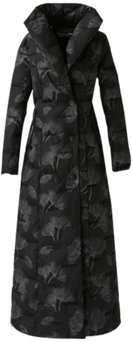 Floral Printed Padded Long Coat