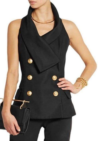 Double-Breasted Sleeveless Vest/Top in Black - DESIGNER INSPIRED FASHIONS
