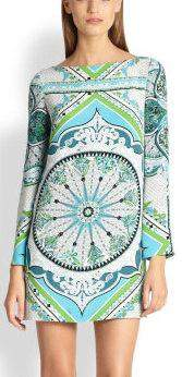 Green Printed Long-Sleeve Mini Jersey Silk Dress | DESIGNER INSPIRED FASHIONS