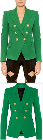 Double-Breasted Gold Button Twill Blazer, Green