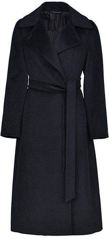 Belted Wool Wrap Coat, Black