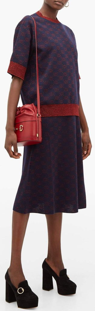 Interlocking G Lamé Wool Top and Skirt Set, Blue/Red | DESIGNER INSPIRED FASHIONS