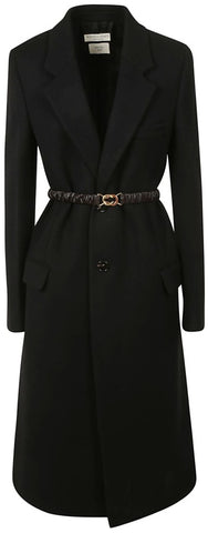 Belted Single-Breasted Coat, Black