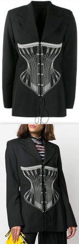 Black Blazer with Corset Embroidery | DESIGNER INSPIRED FASHIONS