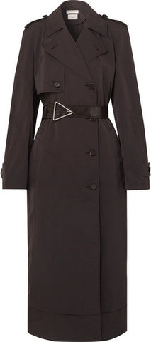 Belted Double-Breasted Shell Trench Coat
