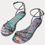 Graffiti Printed Leather Flat Sandals
