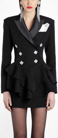 Black Ruffle Double-Breasted Blazer