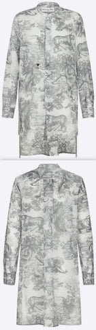 'Toile de Jouy' Cotton Voile Long Blouse, Gray
