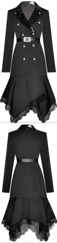 Belted Asymmetric Sequined-Collar Tuxedo Dress | DESIGNER INSPIRED FASHIONS