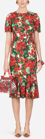 Portofino-Print Cady Midi Dress in Floral Print | DESIGNER INSPIRED FASHIONS