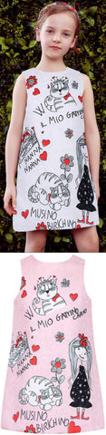 Children's Drawing Printed Dress, White or Pink - DESIGNER INSPIRED FASHIONS