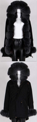Army Parka Military Parka Coat with Fox Fur-Black - DESIGNER INSPIRED FASHIONS