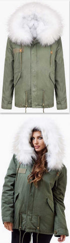 Army-Green Fur Parka Jacket-White Fur | DESIGNER INSPIRED FASHIONS