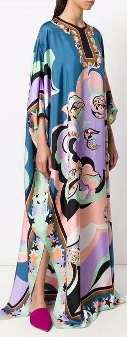 Printed Kaftan Silk Dress | DESIGNER INSPIRED FASHIONS