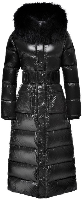 Paneled Puffer Coat with Removable Fur, Black
