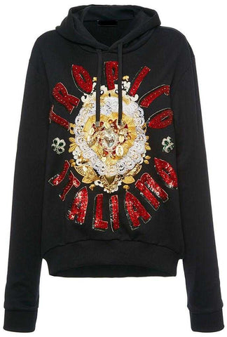 Beaded Detail Hooded Sweatshirt-Black | DESIGNER INSPIRED FASHIONS