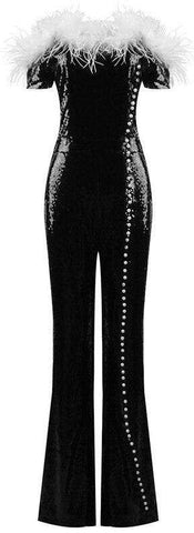 Off-the-Shoulder Feather and Pearl-Embellished Sequined Jumpsuit | DESIGNER INSPIRED FASHIONS