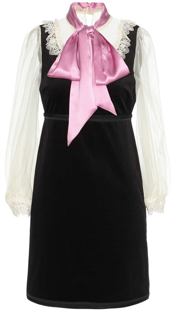 Black Velvet Organza Dress with Bow Detail - DESIGNER INSPIRED FASHIONS