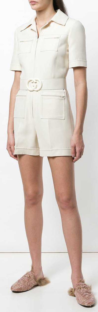 Belted Short Jumpsuit, White