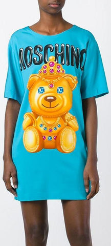 Crowned Bear Oversized T-Shirt/Dress, Light Blue