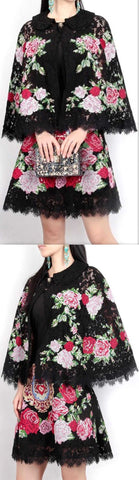 Black Floral Lace Capelet & Mini Skirt