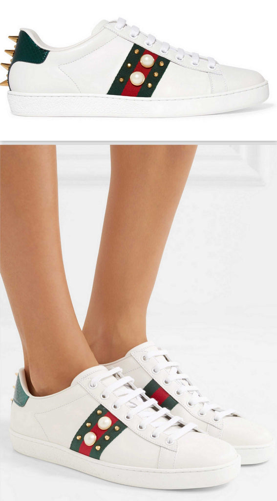 Ace Pearl & Stud Embellished Leather Sneakers