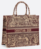 Book Tote Toile De Jouy Bag - Burgundy/Red or Dark Blue