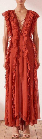 'Ambra' Ruffle Maxi Dress, Red | DESIGNER INSPIRED FASHIONS