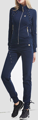 Lace-up Tracksuit - Navy Blue, Black, Grey, or Army Green