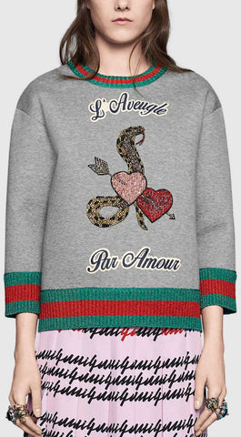 'L'aveugle par amour' Double Fleece Embellished Sweatshirt in Grey - DESIGNER INSPIRED FASHIONS