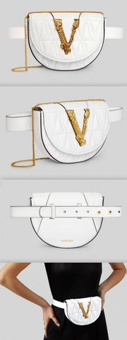 'Virtus' Quilted Belt Bag, White