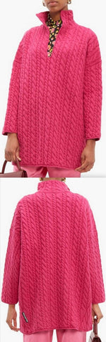Oversized Cable Knit Sweater, Fuchsia