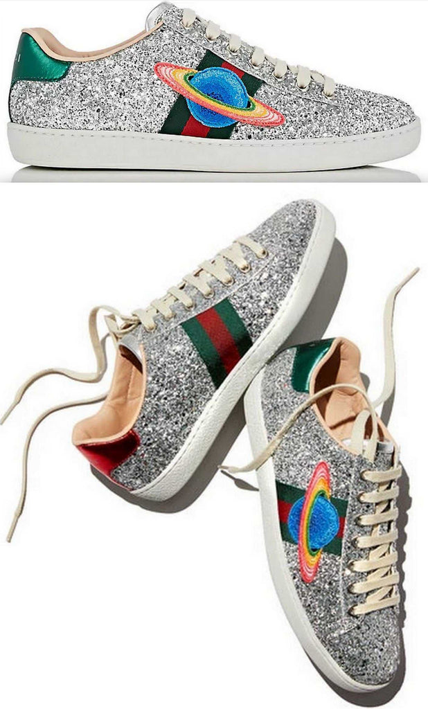 Ace Glitter Saturn-Embroidered Sneakers