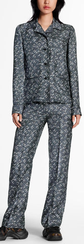 Monogram Pajama Top and Tie-Waist Pant Set | DESIGNER INSPIRED FASHIONS