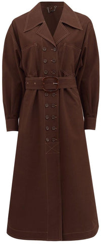 Brown Double-Breasted Belted Cotton Trench Coat