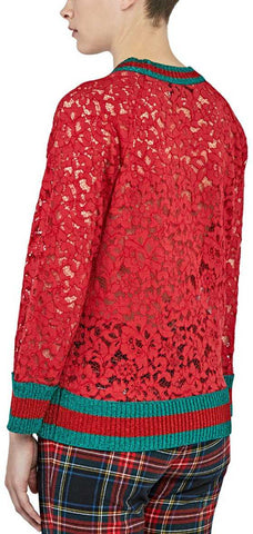 0a2bb66a0 ... Butterfly Patch Floral Lace Sweater in Red - DESIGNER INSPIRED FASHIONS  ...