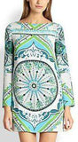 Green Printed Long-Sleeve Mini Jersey Silk Dress - DESIGNER INSPIRED FASHIONS