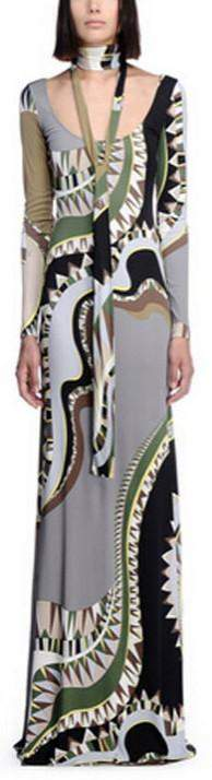 Long Abstract Printed Gown - DESIGNER INSPIRED FASHIONS