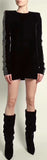 Black Long-Sleeve Crystal-Embellished Velvet Mini Dress