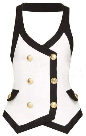 Contrast Double Breasted Vest-Top - DESIGNER INSPIRED FASHIONS