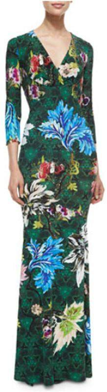 Floral Print Long Jersey Silk V-Neck Dress in Green