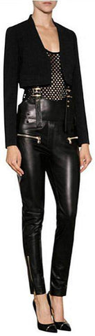 Black Faux-Leather Overalls - DESIGNER INSPIRED FASHIONS