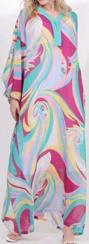 Abstract Print Silk-Blend Kaftan Beach Gown