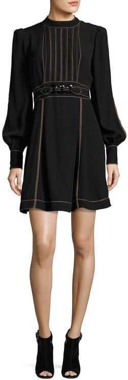 Black Long-Sleeve Belted Mini Dress