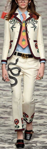 Embroidered Blazer & Pant Set in White - DESIGNER INSPIRED FASHIONS