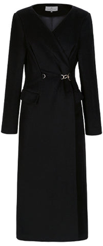 Black Wrap-Style Midi Coat-Dress | DESIGNER INSPIRED FASHIONS