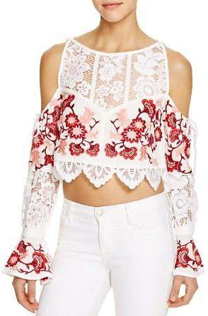 'Cecilia' Flower Embroidered Cold-Shoulder Crop Top - White or Black - DESIGNER INSPIRED FASHIONS