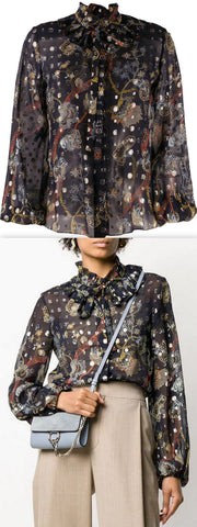 Floral-Print Sheer Silk Blouse | DESIGNER INSPIRED FASHIONS