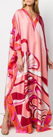 'Copacabana' Print Silk Kaftan Dress | DESIGNER INSPIRED FASHIONS